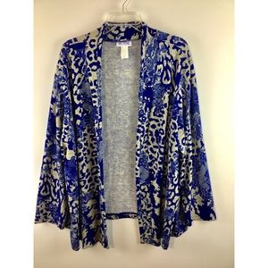 Blair print open front long sleeves cover up